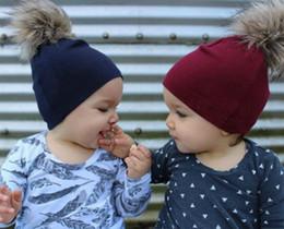 a4c1c3d421d Winter autumn Baby Kids Girl Boy Newborn Crochet Cotton Faux Fur Pom Beanie  Hats Caps Wool Fur Ball Pompom Beanies Hat X079