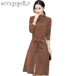 Discount party clothes for plus size women - 2018 Spring Casual Knit Long-Sleeved Knee Length Dress For Women Autumn Winter Slim Plus Size Party Dress Female Clothes