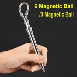 Magnetic Fidget Pen Australia - Pen with 6 Magnetic Ball Fidget Pen 3 Magnetic Ball Magnetic Metal Pen ADHD Gift EDS Anti-stress Novelty Toy OTH446