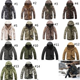 Hunting camouflage jacket online shopping - 14colors TAD Stealth Sharkskin Softshell Jackets Military Waterproof wrap Camouflage Coat Men Hike Hunting Tactical Hoodie jackets GGA1030