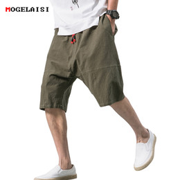 Discount skinny chinese shorts - Chinese style shorts men summer cotton linen casual elastic retro shorts knee Length loose male shorts 2018 New arrival