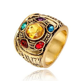 Engagement Platinum Men Ring UK - The Soul Stone Thanos Ring marvel Avenger 3 crystal men women Jewelry