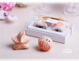 $enCountryForm.capitalKeyWord Australia - 100PCS Ceramic Starfish Shell Salt and Pepper Shakers Canister Set Wedding Party Favors With Box Beach Wedding Favors And Gifts