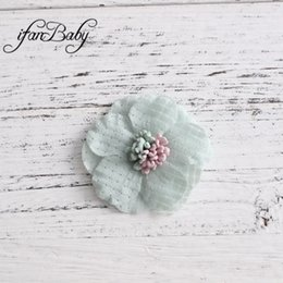 Fabric Hair Brooches Australia - Unfinished Fabric Rose stamen Flower for hair flower brooch clip Kids Girl Artificial flowers
