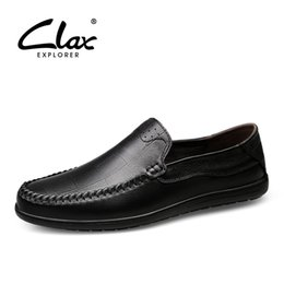 d6ea0095291e CLAX Mens Leather Shoes Slip ons 2018 Summer Autumn Genuine Leather Casual  Shoe Male Loafers Breathable Boat Shoe