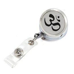 retractable badge ring UK - Silver OM Yoga Perfume Locket Metal Retractable Badge Reel Key ID Card Clip Ring Lanyard Name Tag Card Holder With Free Pads