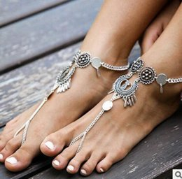 Wholesale Bohemia Sandals Canada - Bohemia Metal Rouind Anklets Fashion Foot Jewelry Chain Tassel Barefoot Sandals Beach Foot Jewelry Anklets Bracelet For Women Jewelry