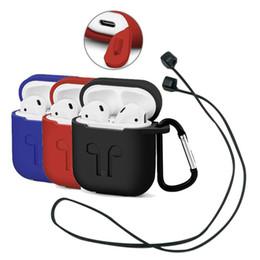 Горячий Airpod Защитные Airpods Крышка кабеля связи Bluetooth Беспроводная наушники Силиконовый чехол Водонепроницаемый Anti-drop ремень Аксессуары mix color на Распродаже