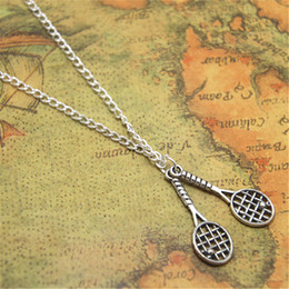 Chain tennis online shopping - 12pcs Tennis Racket necklace Charm bangles Tennis Team Gift Jewelry