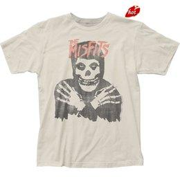 Venta al por mayor de La venta caliente de la manera auténtica The Misfits Classic Fiend Skull Distressed Vintage Soft T-shirt top camiseta hombres camiseta Tops Tees