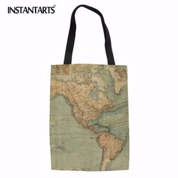 $enCountryForm.capitalKeyWord UK - INSTANTARTS World Map Print Women Big Tote Reusable bag Famous Designer Eco-friendly Cloth Pouch Casual Girls Daily Shopping Bag