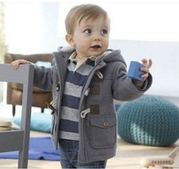 baby boys horn button coat autumn winter casual hooded overcoat children thick outwear clothing free shipping