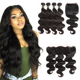 Lace frontaL cLosure weaving hair online shopping - Hottest Raw Brazilian Virgin Hair Body Wave Bundles with Frontal Closure and Human Hair Lace Closure Weaving Body Wave Human Hair Bundles