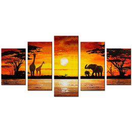 Chinese  5 Pieces Wall Art Painting Giraffe and Elephant Animal Painting African Landscape Wall Art For Home Decor with Wooden Framed manufacturers