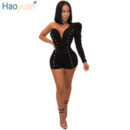 Elegant Jumpsuits Sleeves Australia - HAOYUAN Beading Sexy Party Playsuits One Shoulder Full Sleeve Bodysuit Overalls Elegant Bodycon Short Rompers Womens Jumpsuit