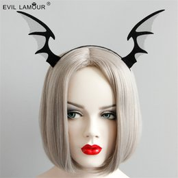 3c06a46a759 2018 New Arrival HOT Fashion Black Evil Horn Headbands Halloween Bat Fairy  Hairbands Men Woman Cosplay Party Hair Accessories FG-61