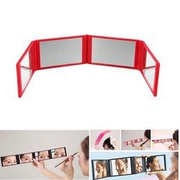 Miroir de maquillage pliable poche rouge 4 plis panneau miroirs extensibles miroirs quatre côtés miroir extension de cils maquillage beauté outil voyage