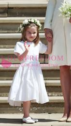 White Communion Dresses Short Australia - 2019 New Meghan Wedding Princess Charlotte Flower Girls Dresses White Satin Short Sleeve Tea Length First Communion Dresses Back Cover Bow