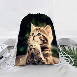 western style backpacks 2019 - Jamssive Kawaii Animals Cat Drawstring Bags Rucksacks Fashion Western Mascot Casual Kids Polyester Backpack Women Should