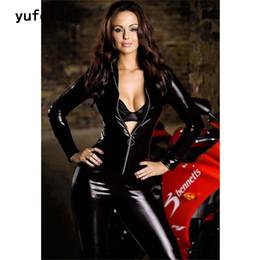 $enCountryForm.capitalKeyWord NZ - YUFEIDA Lady Sexy Zipper Faux Leather Catsuit Jumpsuit Womens Fetish Latex Leotard Costume Black Wet look Bodysuit Slim Clubwear