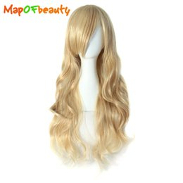 dark brown long heat resistant wigs 2019 - MapofBeauty long wavy Nautral Cosplay wigs blonde black dark light brown colors 50cm Costume Party Heat Resistant Synthe