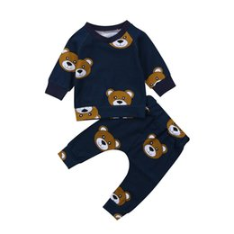 Wholesale Newborn Toddler Infant Kids Baby Boy Clothes Bear Long Sleeve T shirt Tops Long Pants Outfit Set