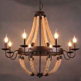 Pendant Lights Dining Room Canada - Retro Designer Rope Pendant Light RH LOFT Lamp Industrial Iron Nordic Dining Room Bedside Bar Vintage Luminaire Pendant Lamps
