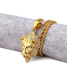 necklace lion 2019 - HIP Hop Gold Color Lion Head Men Pendant Necklace Ice Out Bling Animal Stainless Steel Titanium Necklaces Jewelry cheap