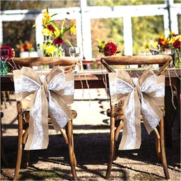 Party Chairs For Sale Wholesale Australia - Hot Sale Burlap Chair Sashes Bow Cover chair Sashes For Weddings Events &Party Banquet Christmas Decoration 0246