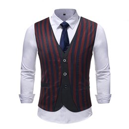 suit vests for men vintage UK - 2018 Stripe Mens Vest Fashion Red Wedding Waistcoats For Mens Formal Gilet Homme Vintage Colete Social Slim Fit Suit Vest 5XL