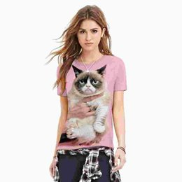 Discount pink punk clothing - Cat 3D print pink kawaii T shirt plus size harajuku punk tees fashion couple clothes loose polyester fashion tee shirt f