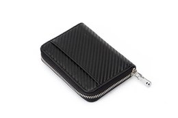 carbon card holder UK - Side Zipper Carbon Fiber Card Holder Leather Wallet Coin Purses 12*8.5*2.5CM X125
