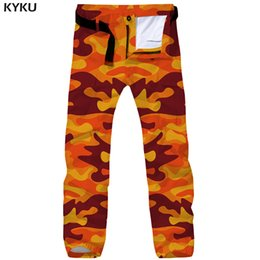 camouflaged trousers UK - wholesale Camo Cargo Pants Men Camouflage Tactical Pants Military Yellow 3d Printed Britches Straight Vintage Mens Trousers Casual