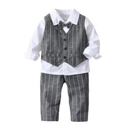Wholesale kids sizes clothes for sale – custom kids boy gentleman clothing sets turn down collar shirt plaid pants cotton boy kids clothing two pieces sets Size cm
