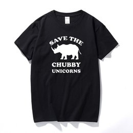 Discount rhino shirt - Save The Chubby licornes dr?le T-shirt pour hommes XS-XXL Rhino cadeau tops fashion tee shirt homme cotton short sleeved