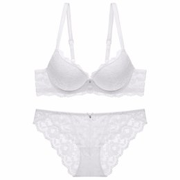 4e837c82e fashion lace sexy thin deep V-neck push up bra underwear hot-selling vintage  solid color bra set 2018 3 4 Cup 70