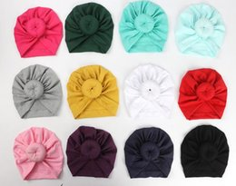 Wholesale Fashion Cute Infant Baby Kids Toddler Children Unisex Ball Knot Indian Turban Colorful Spring Cute Baby Donut Hat Solid Color Cotton Hairban