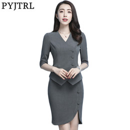 ac0903a6727 PYJTRL Women Summer Thin Gray Black Blue Jacket Skirt Occupation Reception 2  Pcs Set Office Uniform Designs Female Business Suit