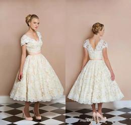Bohemian tea length wedding dress online shopping - Charming Ivory Bohemian Wedding Dresses Lace Applique Backless V Neck Short Weddings Dress Sash Hot Sales Tea Length Wedding Gowns