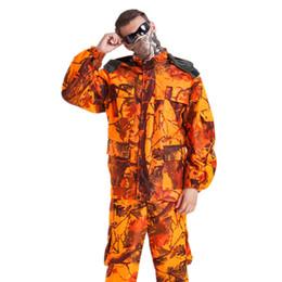 $enCountryForm.capitalKeyWord Australia - Mens Waterproof Maple Leaf Camouflage Clothing Sniper Tactical Ghillie Suits Hunting Fiery Orange Jacket and Pants