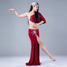 cc18e34795 Lady Women Belly Dance Diamond Bra and Sexy High Split Skirt Underpants  Suit Performance Competition Costume Belly Indian Oriental Outfits