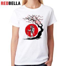 Discount animation figures - Women's Tee Redbella Cool Figure Women T-shirt Video Games Tree Sakura Art Scene Animation Cute Tee Shirt Femininas