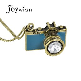 China Vintage Jewelry maxi necklace Anitque Gold-Color Long Chain Colorful Enamel Camera Pendant Necklace Top Selling collier femme suppliers