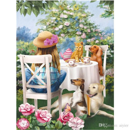 girl cat painting 2020 - DIY diamond painting full square round 5D diamond embroidery fashion craft art gift decoration little girl cat dog