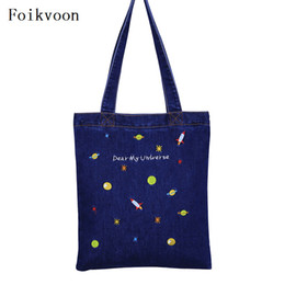 Chinese  Foikvoon Embroidery Handbags For Woman Denim Canvas Fashion Women Shoulder Bags Casual Small Fresh Ladies Crossbody Bags manufacturers
