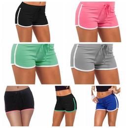 Cotton Blend Yoga Pants Canada - Women Yoga Sports Shorts Cotton Gym Leisure Homewear Outdoor Fitness Pants Drawstring Beach Shorts Summer Running Pants 7 Colors AAA25