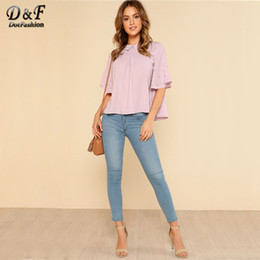 Dotfashion Pearl Detail Flounce Sleeve Solid Top mujeres solapa Half Sleeve Shirt Cute Girls suelta Top verano blusa