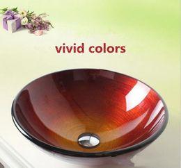 Умывальник для ванной комнаты искусства чистки фарфора закаленное стекло круглой формы один слот водопроводный кран постепенно изменить цвет