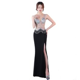 9f9fcf04c4a Diamonds V-Neck 2018 New Women s Elegant Long Gown Party Prom For Gratuating  Date Ceremony Gala Evening Dresses A22