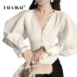 $enCountryForm.capitalKeyWord Canada - Spring&Summer Chic Female White T-Shirt Sexy Chiffon Deep V Neck Women Tops Vintage Lantern Full Sleeve Shirts Outfits SWA090745